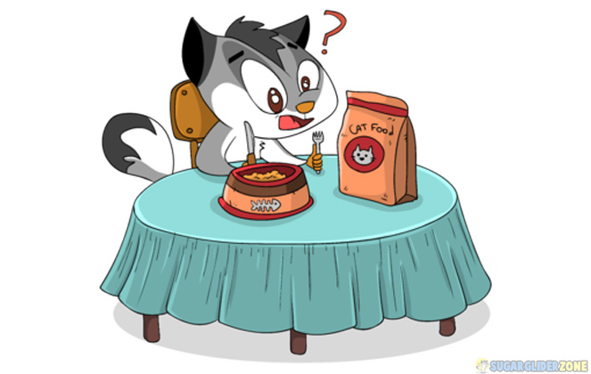 is cat food safe for sugar gliders